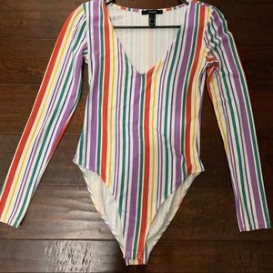 Forever 21 colorful striped bodysuit long sleeve S